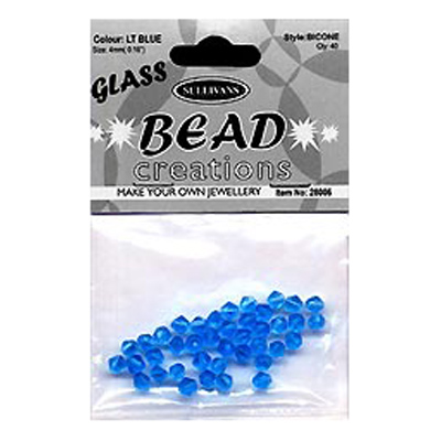 BEAD BICONE GLASS 4MM LT BLUE