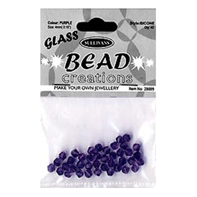 BEAD BICONE GLASS 4MM PURPLE