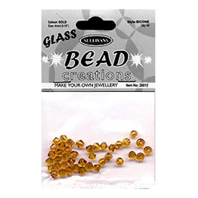 BEAD BICONE GLASS 4MM GOLD