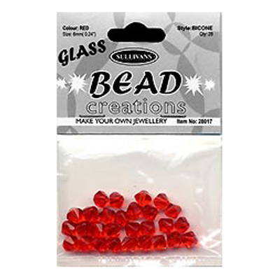 BEAD BICONE GLASS 6MM RED