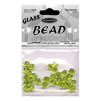 BEAD BICONE GLASS 6MM LT GREEN