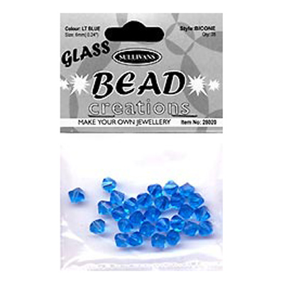BEAD BICONE GLASS 6MM LT BLUE