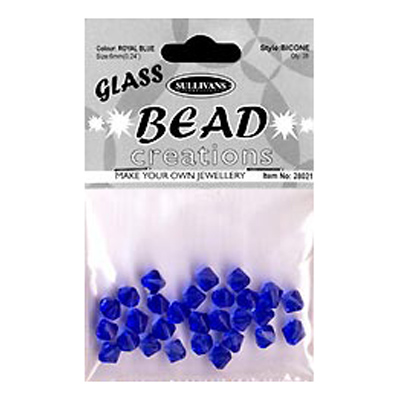 BEAD BICONE GLASS 6MM ROYAL BL