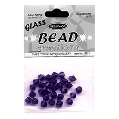 BEAD BICONE GLASS 6MM PURPLE