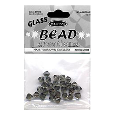 BEAD BICONE GLASS 6MM SMOKE