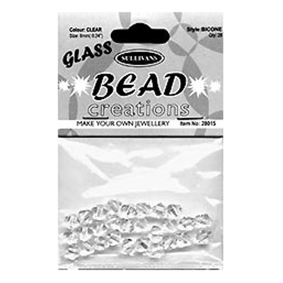 BEAD BICONE GLASS 8MM CLEAR