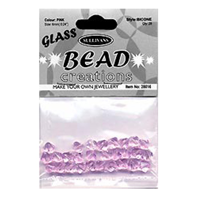 BEAD BICONE GLASS 8MM-PINK