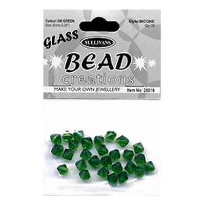 BEAD BICONE GLASS 8MM DK GREEN