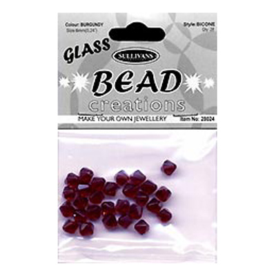 BEAD BICONE GLASS 8MM BURGUNDY
