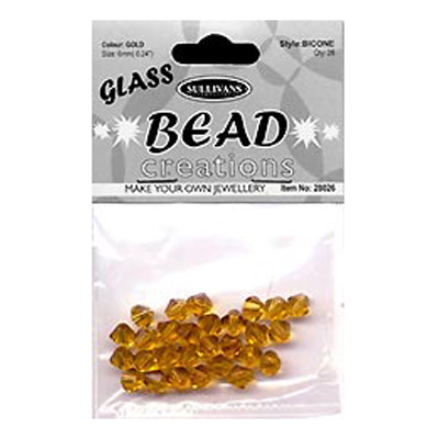 BEAD BICONE GLASS 8MM GOLD