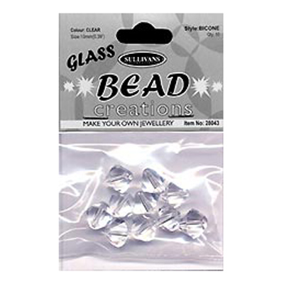 BEAD BICONE GLASS 10MM CLEAR