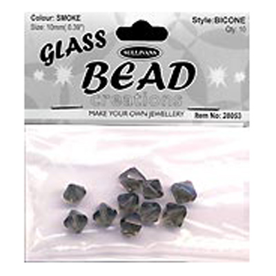 BEAD BICONE GLASS 10MM SMOKE