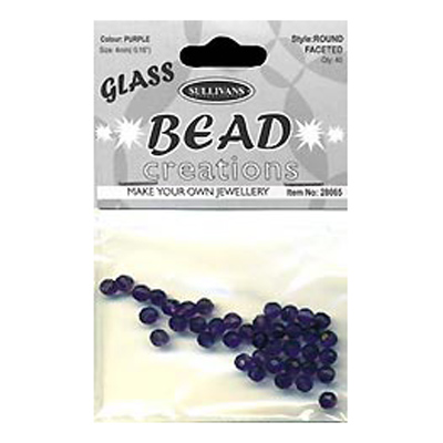 BEAD ROUND FACETED GLASS 4MM PURPLE