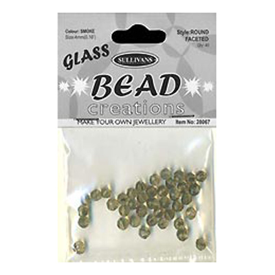 BEAD ROUND FACETED GLASS SMOKE