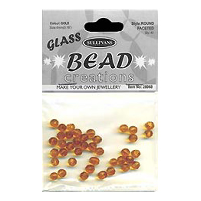 BEAD ROUND FACETED GLASS GOLD