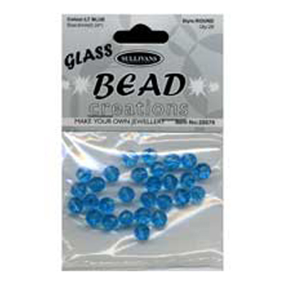 BEAD ROUND FACETED GLASS 6MM LT BLU