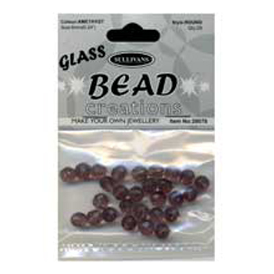 BEADROUND FACETED GLASS AMETHYS