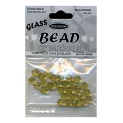 BEAD ROUND FACETED GLASS 6MM GOLD
