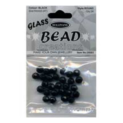 BEAD ROUND FACETED GLASS BLACK