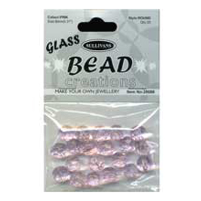 BEAD ROUND FACETED GLASS PINK