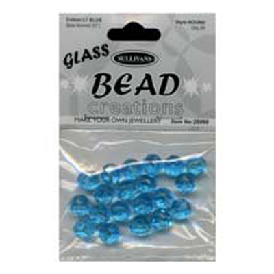 BEAD ROUND FACETED GLASS 8MM LT BLUE