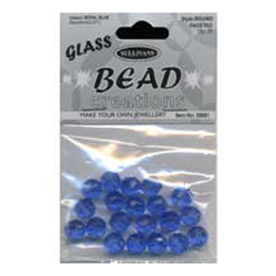 BEAD ROUND FACETED GLASS ROYAL