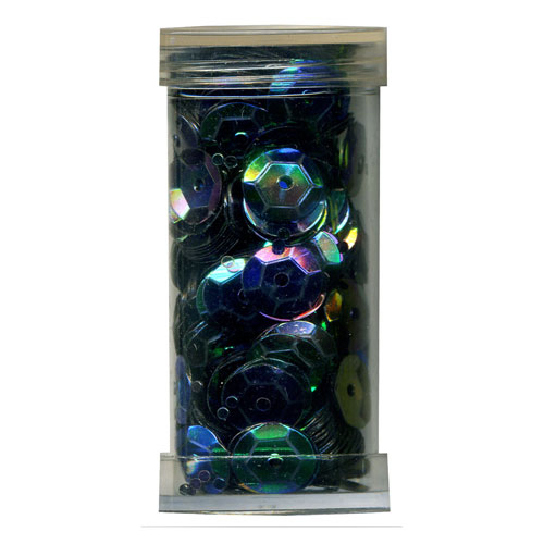 SEQUIN CUP 6MM AB GRN/BLK 9g