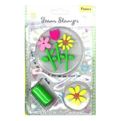 FOAM STAMPS-FLOWERS 3PCS