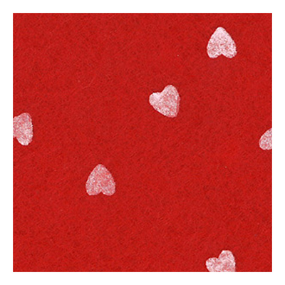 FELT PIECE PRINTED RED WITH WHITE HEARTS