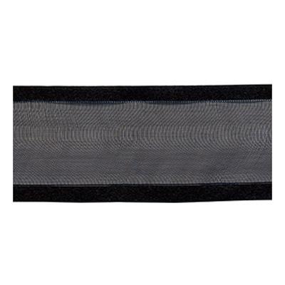 RIBBON ORGANZA 38MM SATIN EDGE SILVER BLACK