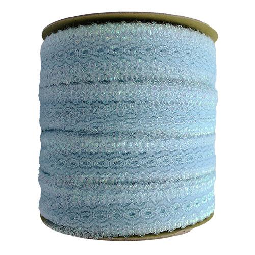 EYELET LACE 30MM OPAL BLUE