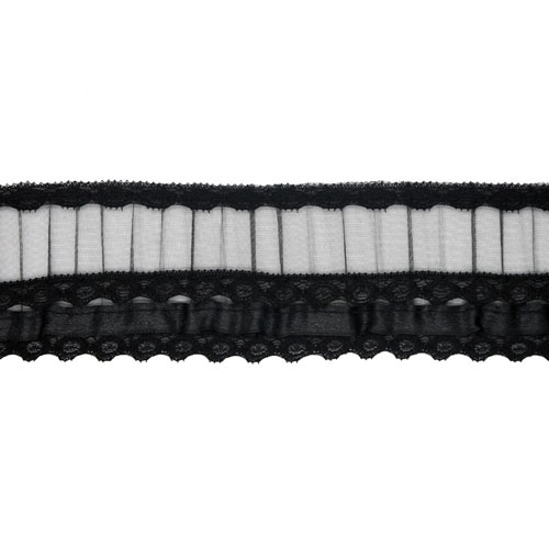FRILLED LACE W/ORG  55MM BLACK