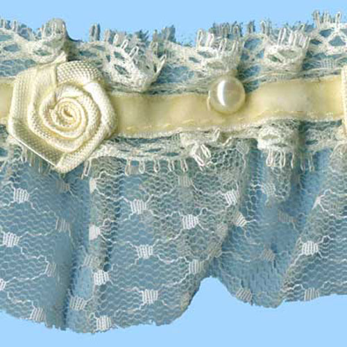 LACE FRILL/BEADS & ROSES CREAM