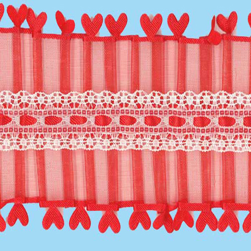 LACE PLEATED HEART EDGE RED