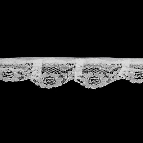 FRILLED NYLON LACE 45MM WHITE