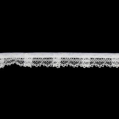 FRILLED NYLON LACE 25MM WHITE
