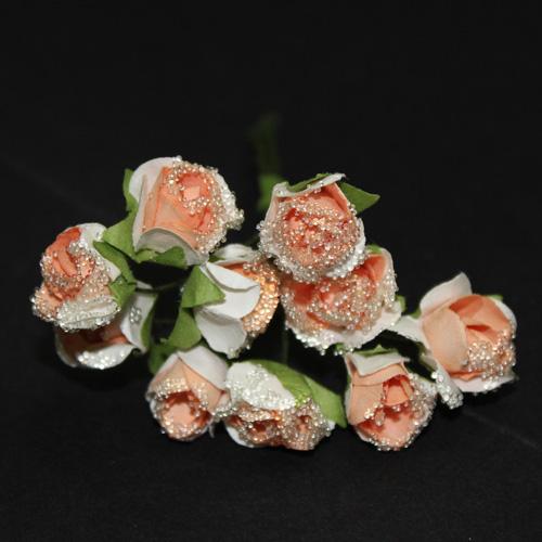 FLOWER SMALL GLASS ORANGE/WHITE