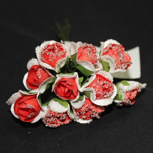 FLOWER SMALL GLASS LT RED/WHITE